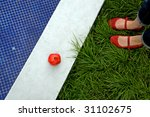 swimming pool  red shoes on... | Shutterstock . vector #31102675