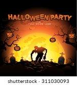 halloween party vector concept... | Shutterstock .eps vector #311030093