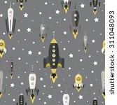 cartoon spaceships launch... | Shutterstock .eps vector #311048093