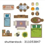 floor plan furniture set vector ... | Shutterstock .eps vector #311053847