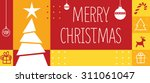 christmas greeting card in red... | Shutterstock .eps vector #311061047