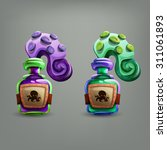 bottles with octopus. vector...