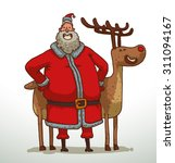 santa claus and deer staying... | Shutterstock .eps vector #311094167
