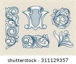 vintage floral design elements   Shutterstock .eps vector #311129357