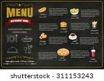restaurant fast foods menu on...   Shutterstock .eps vector #311153243