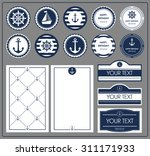 a set of cards in a nautical... | Shutterstock .eps vector #311171933