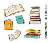 hand drawn color books set.... | Shutterstock .eps vector #311180417