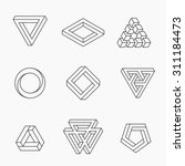 Set of impossible shapes, vector, line design | Shutterstock vector #311184473
