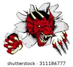 Cartoon Fierce Red Dragon...