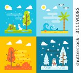 4 Seasons Park Flat Design Set...