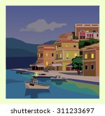 seascape with yacht and... | Shutterstock .eps vector #311233697