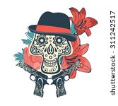 hand drawn sugar skull with... | Shutterstock .eps vector #311242517
