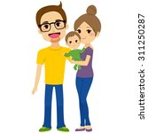 happy young couple holding baby ... | Shutterstock .eps vector #311250287