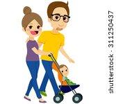 cute couple pushing stroller... | Shutterstock .eps vector #311250437