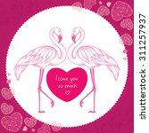 Two Dotted Pink Flamingo With...