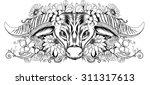 doodle art design a buffalo...   Shutterstock .eps vector #311317613