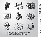 set of karaoke singing freehand ... | Shutterstock .eps vector #311358347