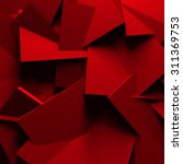 Red Chaotic Cubes Wall...