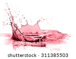 Red Wine Splash Isolated On...