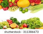 fruits and vegetables isolated... | Shutterstock . vector #311386673