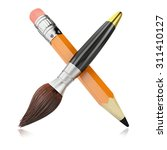 crossed small pencil and paint... | Shutterstock . vector #311410127