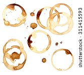 set of coffee stains isolated... | Shutterstock . vector #311415593