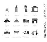 world landmarks outline icons ... | Shutterstock .eps vector #311421377