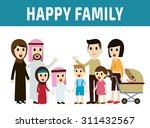 arab family and asian family.... | Shutterstock .eps vector #311432567