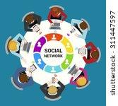 social network usage concept.... | Shutterstock .eps vector #311447597