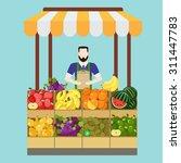 food market fruit shop salesman ... | Shutterstock .eps vector #311447783