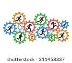 people running gears   Shutterstock .eps vector #311458337