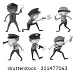 police and thieves in black and ... | Shutterstock .eps vector #311477063