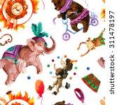 Watercolor Circus Seamless...