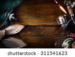art sports fishing rod and... | Shutterstock . vector #311541623