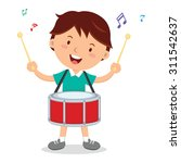 Boy Playing Drum. Vector...