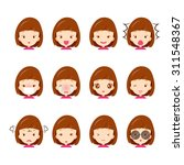 emoticon icons set of cute girl ... | Shutterstock .eps vector #311548367