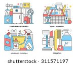 flat line illustration set of... | Shutterstock .eps vector #311571197