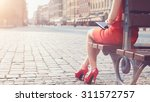 Woman In Red High Heeled Shoes...