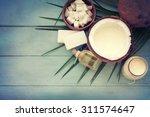 coconut oil on table | Shutterstock . vector #311574647
