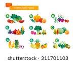 fruit. vitamin rich foods chart  | Shutterstock .eps vector #311701103
