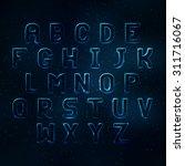 glowing cosmic neon font. shiny ...   Shutterstock .eps vector #311716067