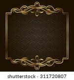 retro vector gold frame on dark ...   Shutterstock .eps vector #311720807