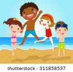 group of kids jumping on beach | Shutterstock .eps vector #311858537