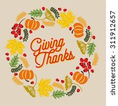 thanksgiving card with wreath... | Shutterstock .eps vector #311912657