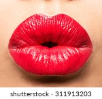 woman's lips with red lipstick... | Shutterstock . vector #311913203