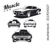 Set Of Muscle Car Illustration...