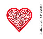 red heart with ornament  vector ... | Shutterstock .eps vector #311954087
