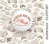 vector bakery retro background. ... | Shutterstock .eps vector #311957387