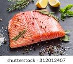 Fresh Salmon On The Black...