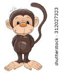 cute monkey isolated on a white ... | Shutterstock . vector #312027323